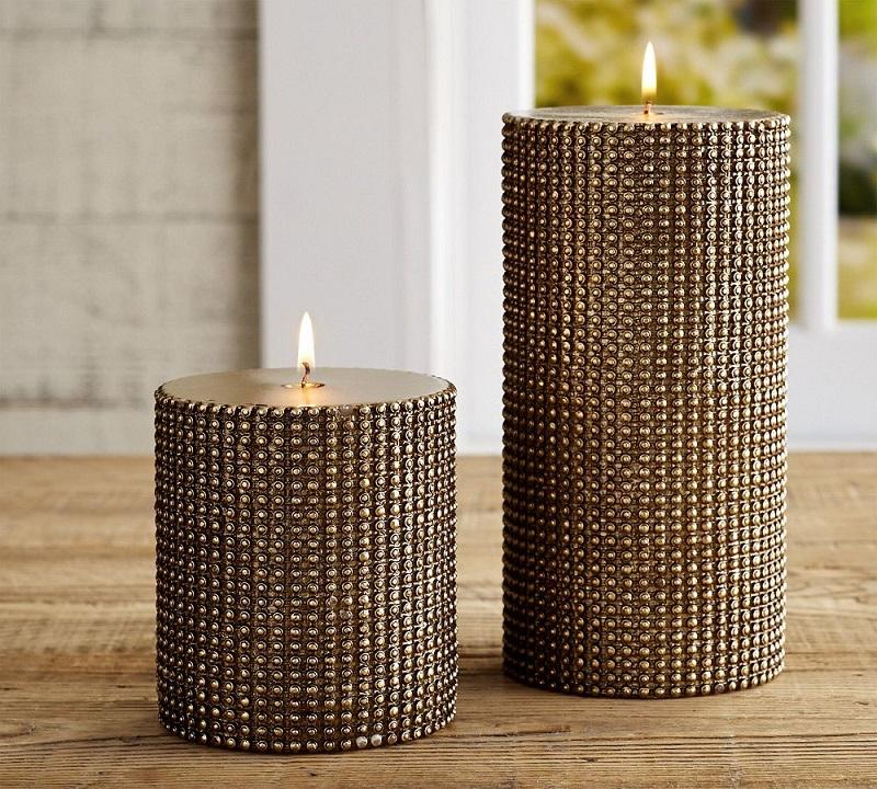PB-beaded-gold-metallic-wax-pillar-candles_Z  Christmas Decor Ideas by ELLE DECOR PB beaded gold metallic wax pillar candles Z